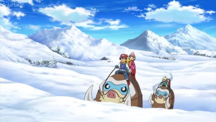 Pokemon Dublado Episódio - 887Sobre a Montanha de Neve!